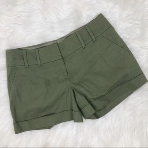 Elie Tahari Cuffed Olive Green Shorts Size 6